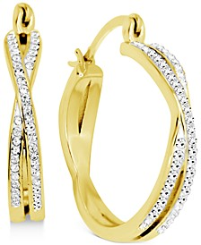 Crystal Small Twist Hoop Earrings in Gold-Plate, 0.95""