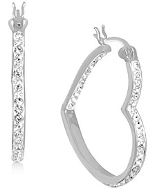 Crystal Heart Hoop Earrings in Fine Silver-Plate