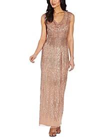 Cowlneck Embellished Gown