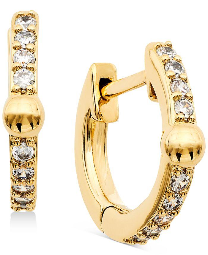 "AVA NADRI - Extra-Small Cubic Zirconia & Bead Huggie Hoop Earrings, 0.37"""