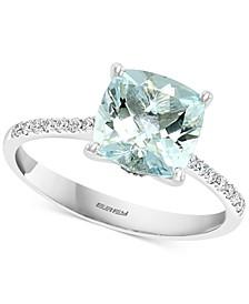 EFFY® Aquamarine (1-7/8 ct. tw.) & Diamond (1/8 ct. t.w.) Ring in 14k White Gold