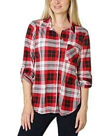 Juniors' Roll-Sleeve Plaid Shirt