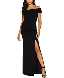 Off-The-Shoulder Slit Gown