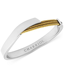 Two-Tone Overlap Bangle Bracelet in Stainless Steel & 18k Gold PVD Stainless Steel