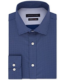 Men's Fitted Non-Iron TH Flex Performance Stretch Grid Dress Shirt