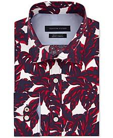 Men's Slim-Fit Non-Iron TH Flex Performance Stretch Frond-Print Supima® Cotton Dress Shirt