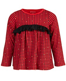 Baby Girls Long-Sleeve Checked Ruffle Cotton Top, Created for Macy's