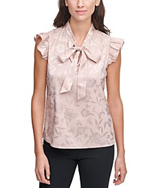 Jacquard Bow-Neck Top