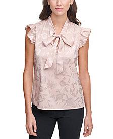 Calvin Klein Jacquard Bow-Neck Top
