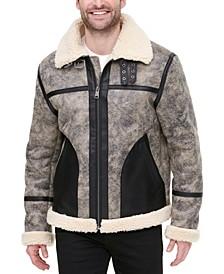 Men's Faux Leather Fleece-Lined Shortie Jacket