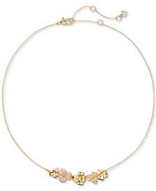 "Gold-Tone Pavé Flower Collar Necklace, 16"" + 3"" extender"
