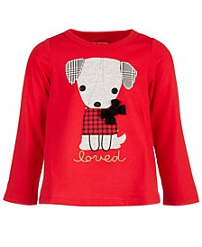 Baby Girls Long-Sleeve Holiday Dog Cotton T-Shirt, Created for Macy's