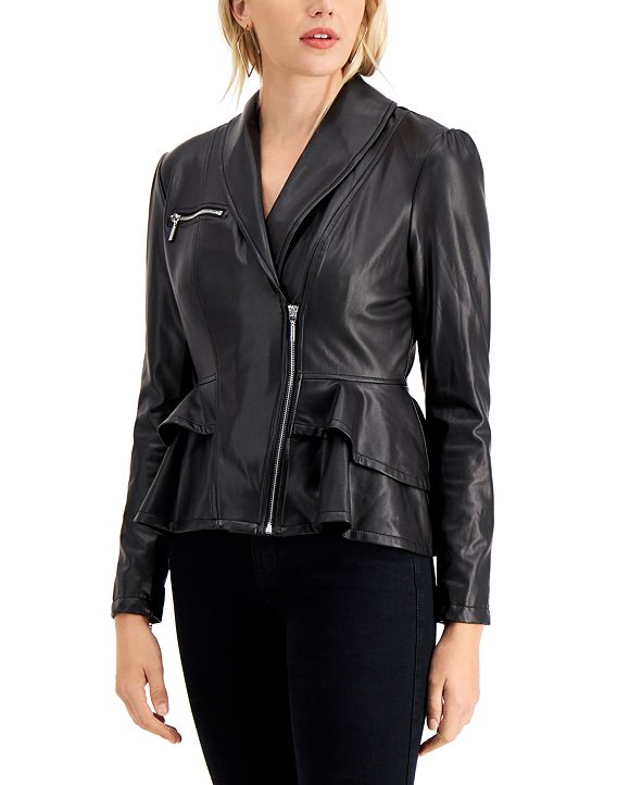 GUESS Westlynn Faux-Leather Peplum Jacket