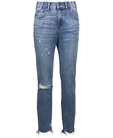 Juniors' Real Curve Ripped Mom Jean