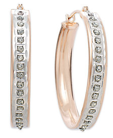 14k Rose Gold Earrings, Diamond Accent Round Hoop Earrings