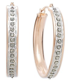 14k Rose Gold Earrings, Diamond Accent Round Hoop Earrings