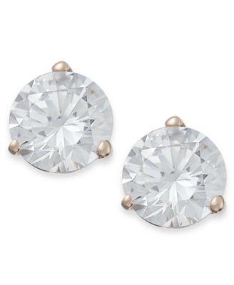 14k Rose Gold Earrings, Swarovski Zirconia Stud Earrings (7mm)