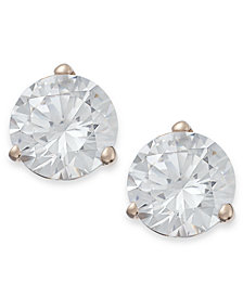 Arabella 14k Rose Gold Earrings, Swarovski Zirconia Studs (5-7mm)