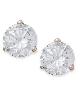Arabella 14k Rose Gold Earrings, Swarovski Zirconia Stud Earrings (7mm)