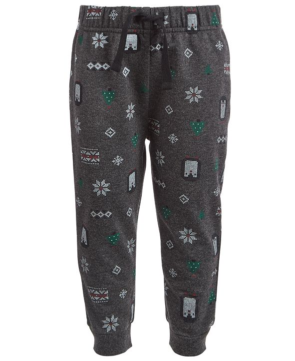 First Impressions Baby Boys Winter-Print Jogger Pants, Created for Macy's