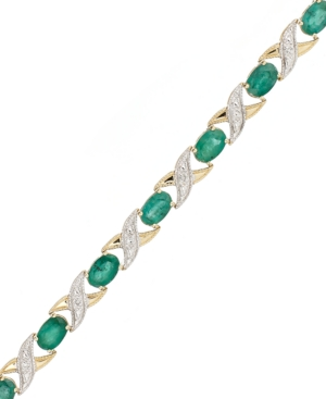 10k Gold Bracelet, Emerald (5 ct. t.w.) and Diamond Accent Xo Link Bracelet