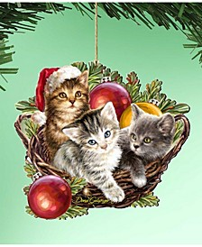 by Dona Gelsinger Christmas Kittens Ornament, Set of 2