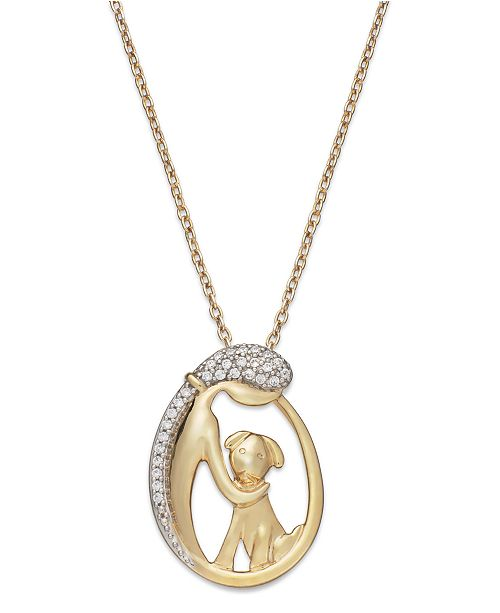 Macy's ASPCA® Tender Voices® Diamond Woman and Dog Pendant Necklace in 10k Gold-Plated Sterling Silver (1/10 ct. t.w.)