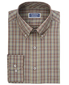 Men's Classic/Regular Fit Stretch Plaid Button Down Collar Dress Shirts, Created for Macy's