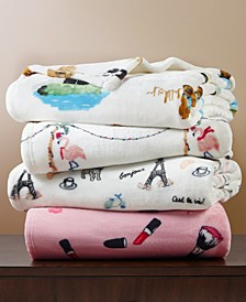 Printed Plush Throw, Created for Macy's