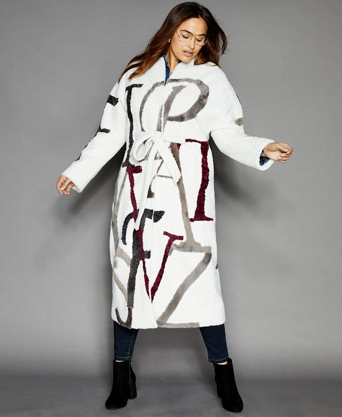 The Fur Vault - Plus Size Letter-Print Shearling Lamb Coat