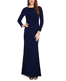 Draped & Beaded Jersey Gown