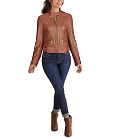 Quilted Shoulder Zip-Front Leather Jacket, Created for Macy's