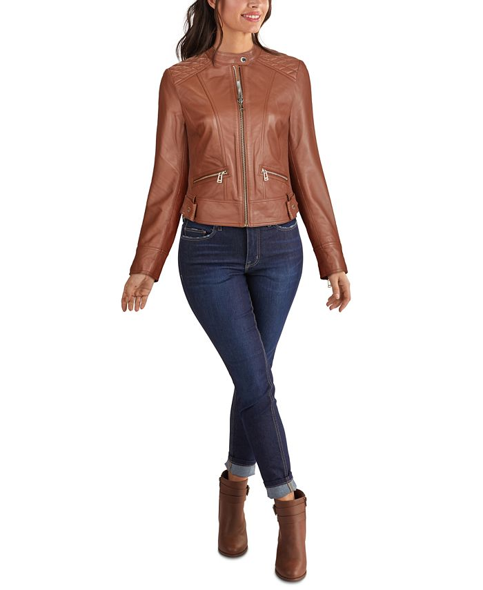 GUESS - Quilted Shoulder Zip-Front Leather Jacket