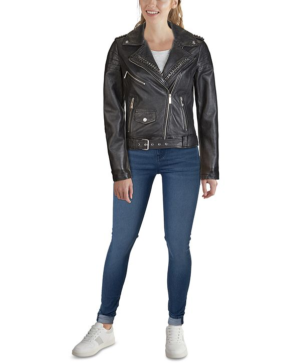 GUESS Belted Moto Leather Jacket