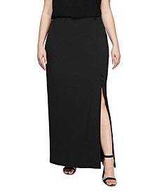 Plus Size Long Column Skirt With Slit