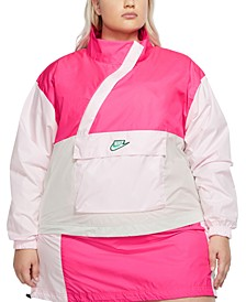 Plus Size Zipper Anorak Jacket