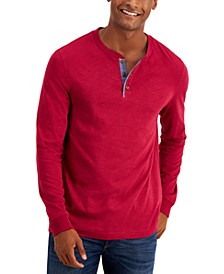 Men's Chambray-Trim Henley, Created for Macy's