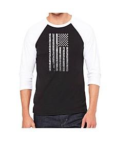 National Anthem Flag Men's Raglan Word Art T-shirt