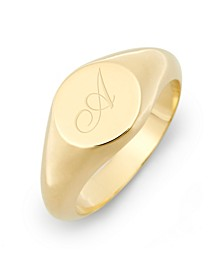 Claire Petite Initial Signet Gold-Plated Ring