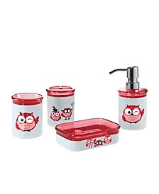 Kid's Owl 4 Piece Bathroom Accessory Set with Gift Box
