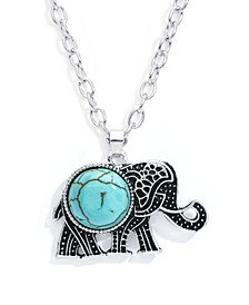 Simulated Turquoise Fine Silver Plated Elephant Pendant Necklace