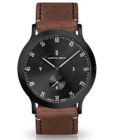 L1 All Brown Leather Strap Watch, 37.5mm