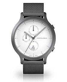 Silver Chronograph with Sliver-tone Stainless Steel Mesh Bracelet Watch, 42mm