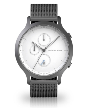 Silver Chronograph with Sliver-tone Stainless Steel Mesh Bracelet Watch