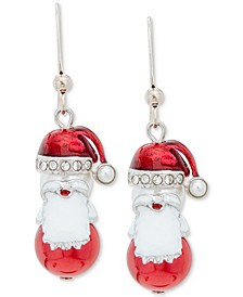 Silver-Tone Pavé & Imitation Pearl Santa Drop Earrings, Created for Macy's