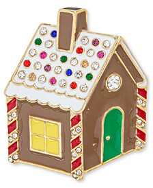 Gold-Tone Multicolor Crystal Gingerbread House Pin, Created for Macy's