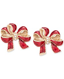 Gold-Tone Pavé & Glitter Red Bow Stud Earrings, Created for Macy's