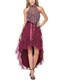 Juniors' Embellished High-Low Dress