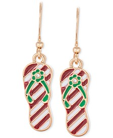 Gold-Tone Pavé Red & Green Striped Flip-Flop Drop Earrings, Created for Macy's