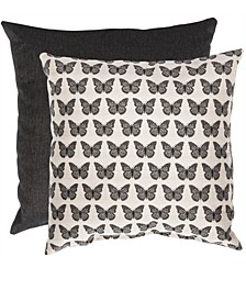 """Butterfly Print & Solid 20"""" x 20"""" Outdoor Decorative Pillow 2-Pack"""